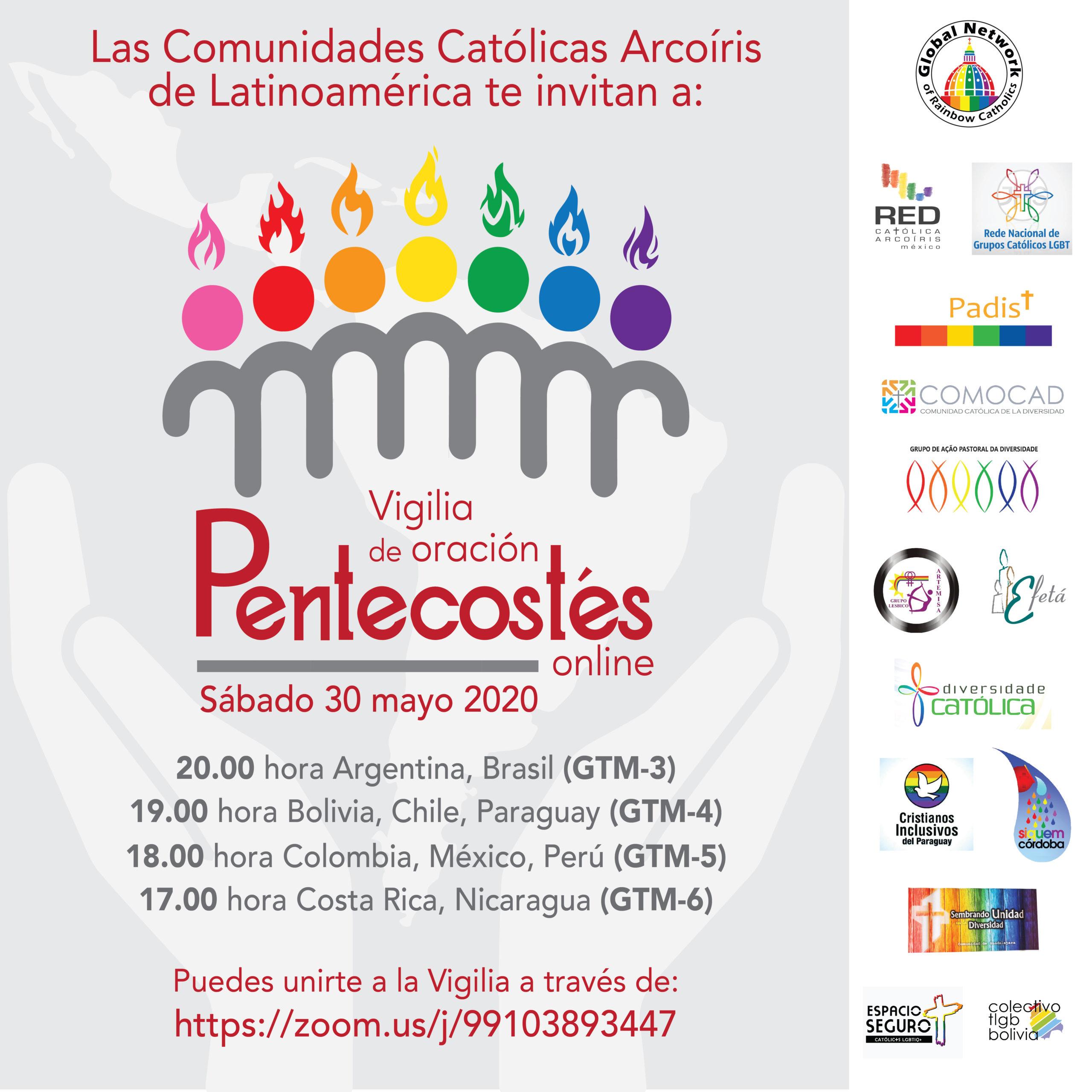 """Los Católicos LGBT+ de Latino América se reúnen para recordar que """"Cuando llegó el di de Pentecostés, estaban todos reunidos en el mismo lugar"""" (Hechos 2:1)"""